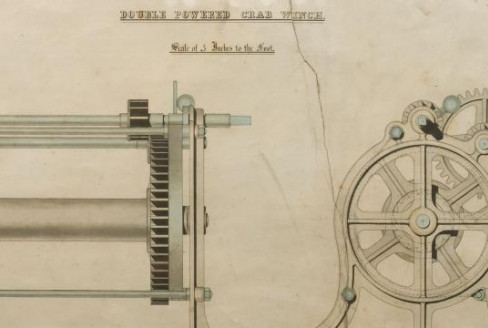 illustration showing double powered crab winch
